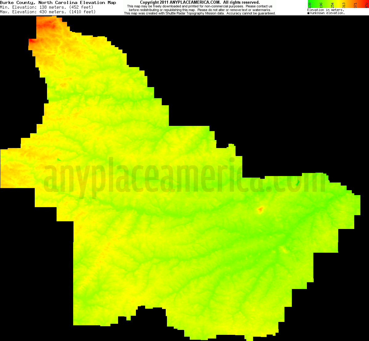 Download Burke County Elevation Map