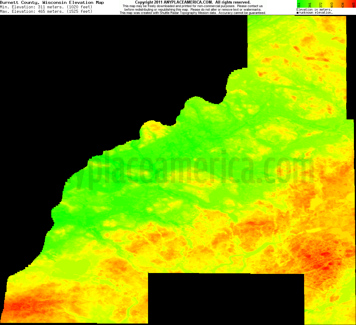 Download Burnett County Elevation Map