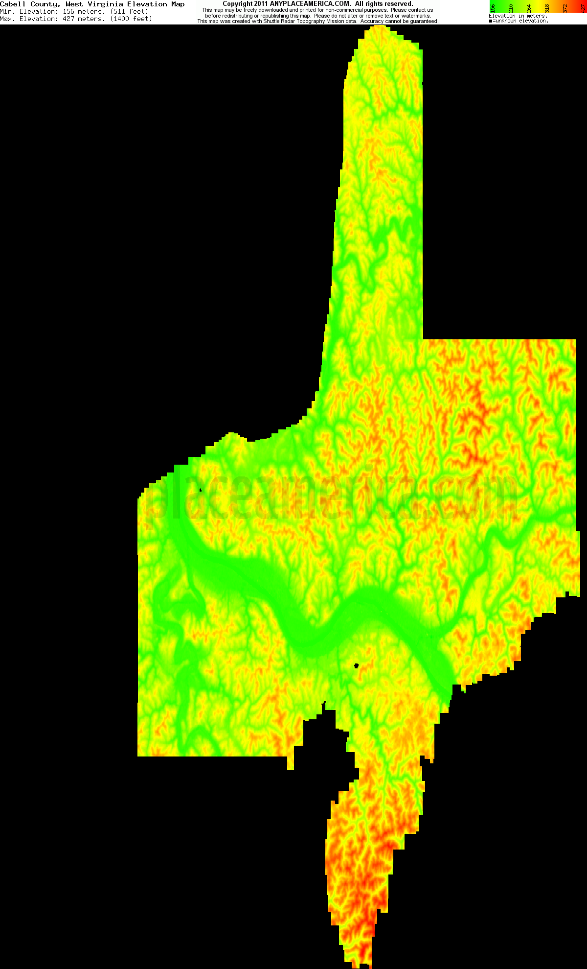 Download Cabell County Elevation Map