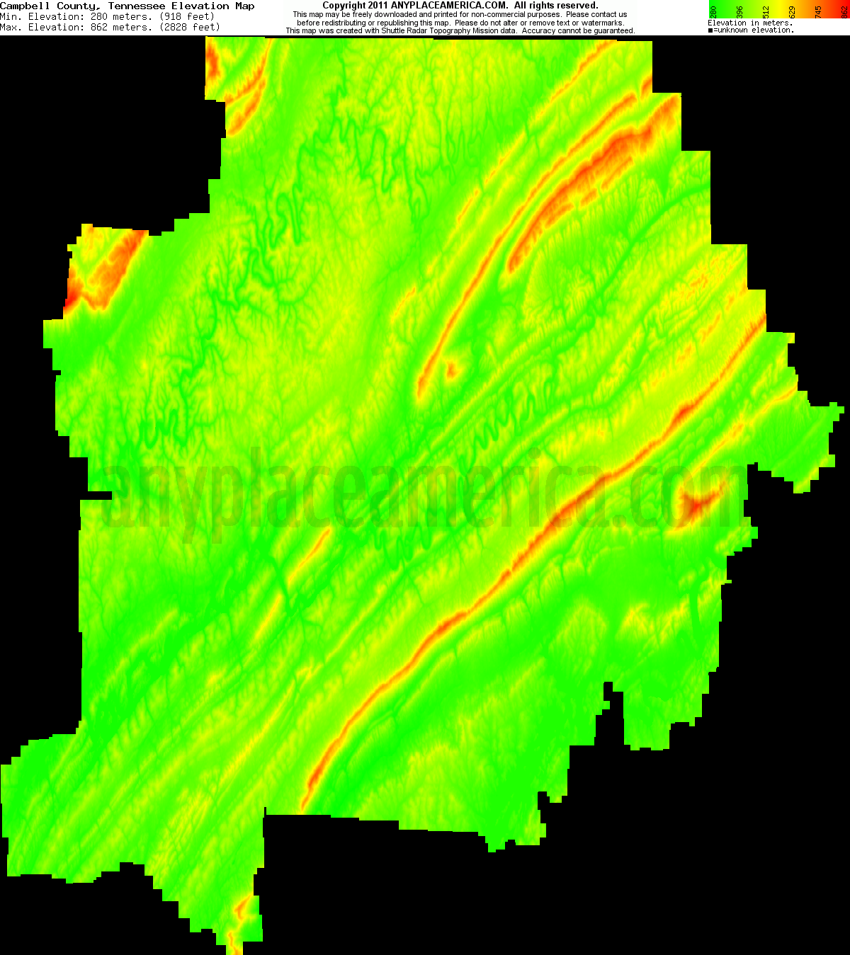 Tn Elevation Map.Free Campbell County Tennessee Topo Maps Elevations