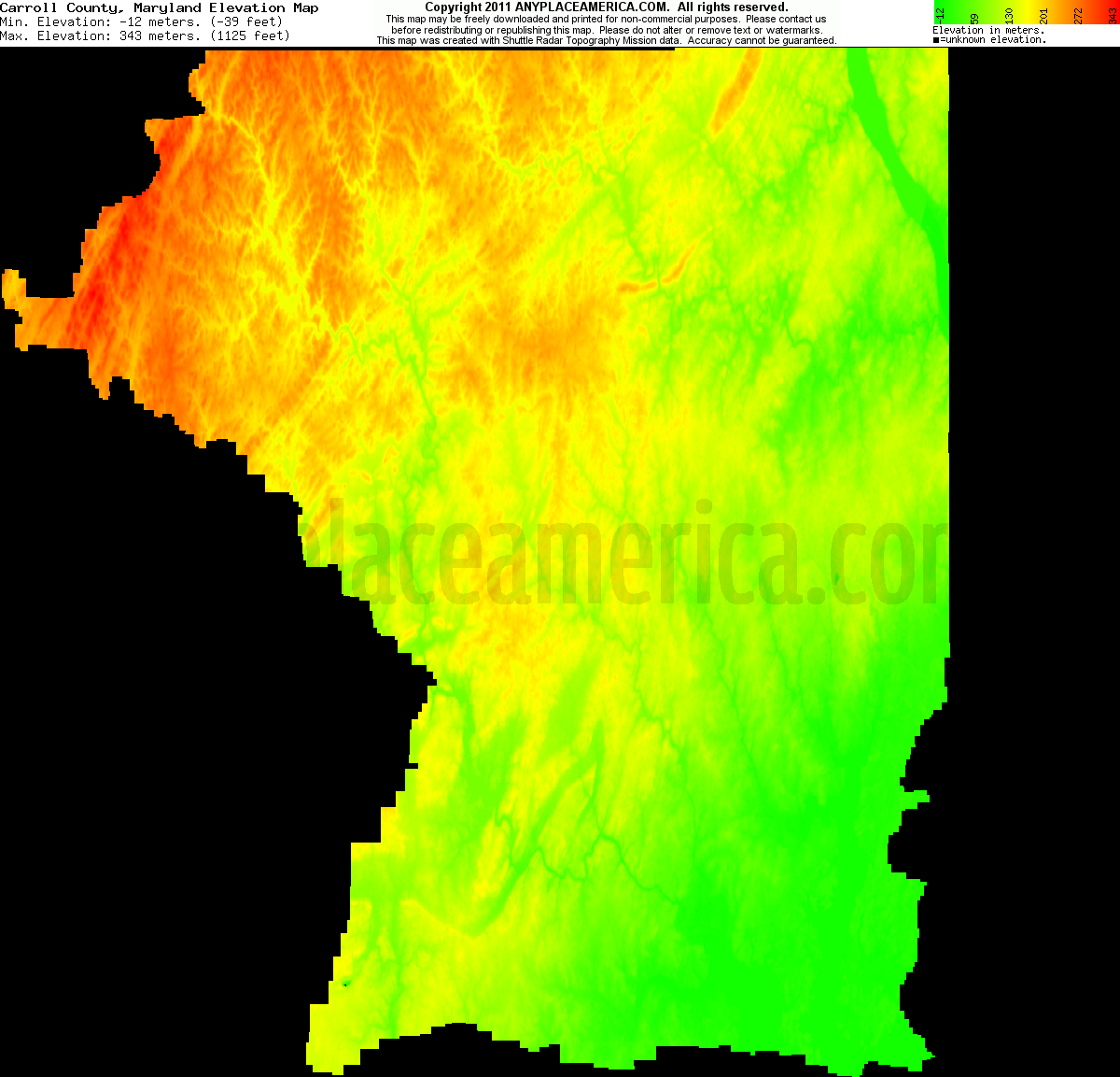 Free Carroll County Maryland Topo Maps Elevations