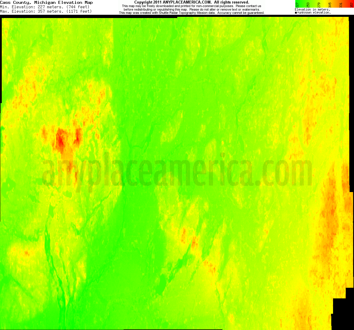 Michigan cass county vandalia - Download Cass County Elevation Map