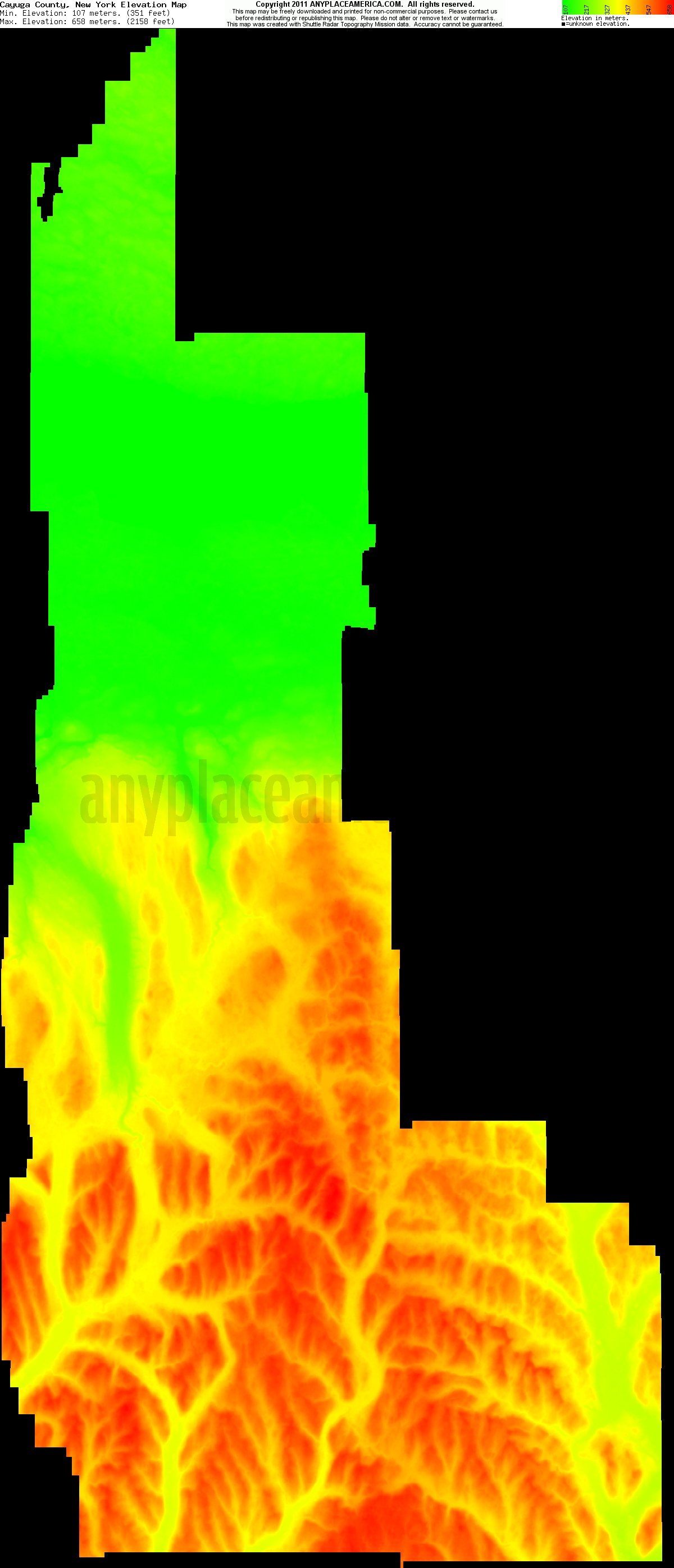 New york cayuga county - Download Cayuga County Elevation Map