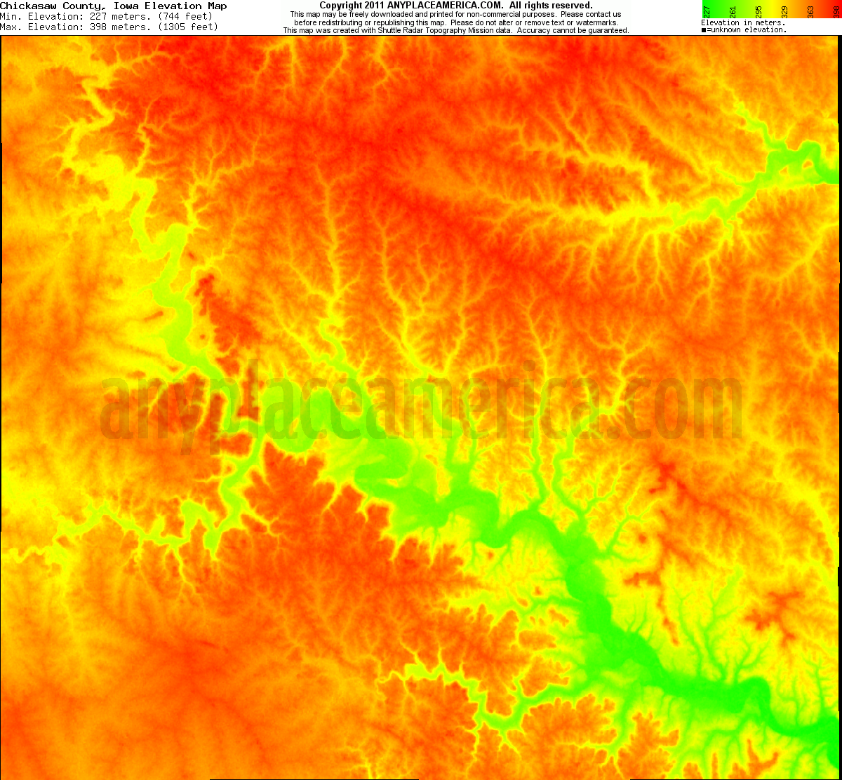 Chickasaw, Iowa elevation map