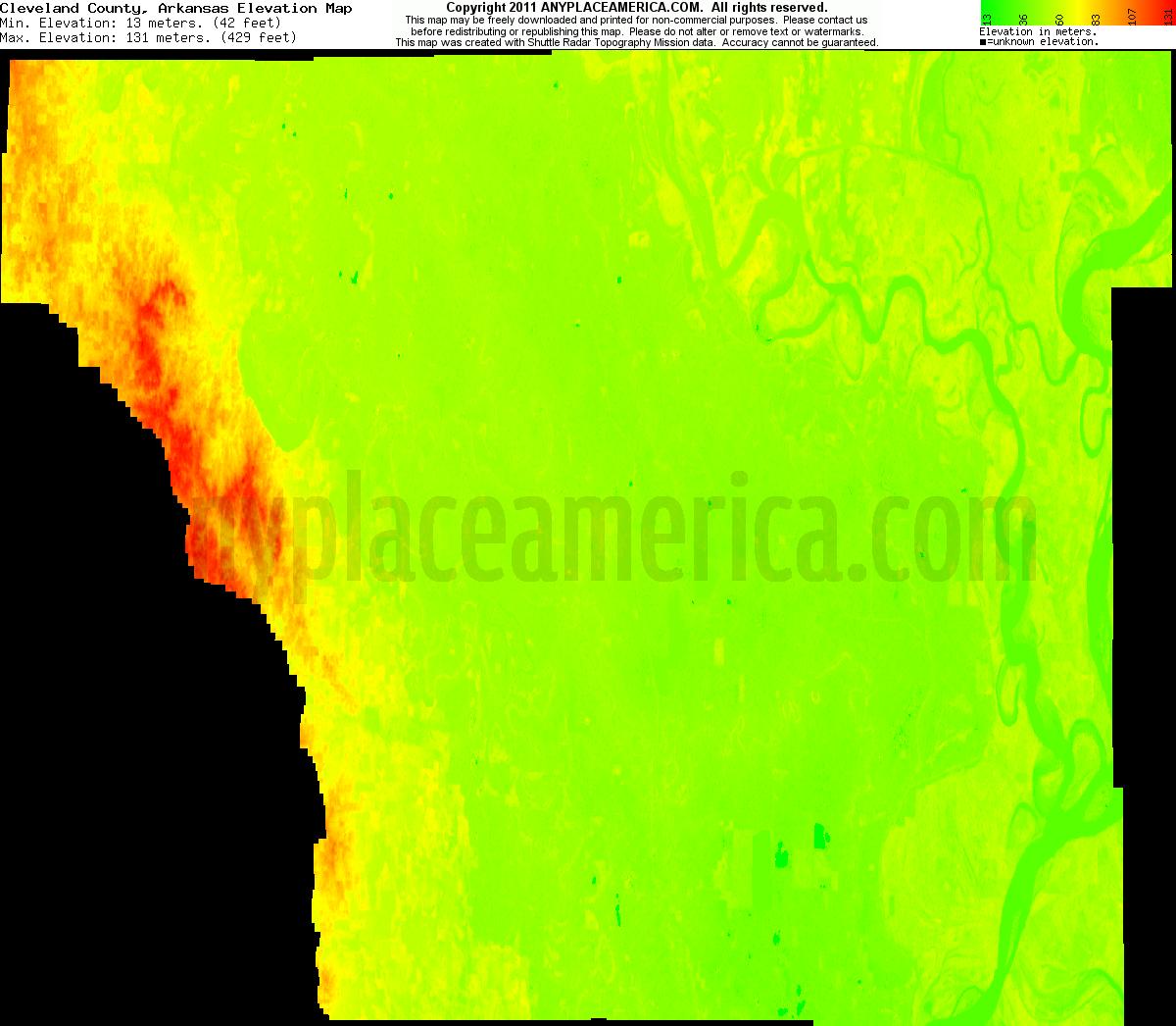 Elevation Of Washington County Ar Usa: Free Cleveland County, Arkansas Topo Maps & Elevations