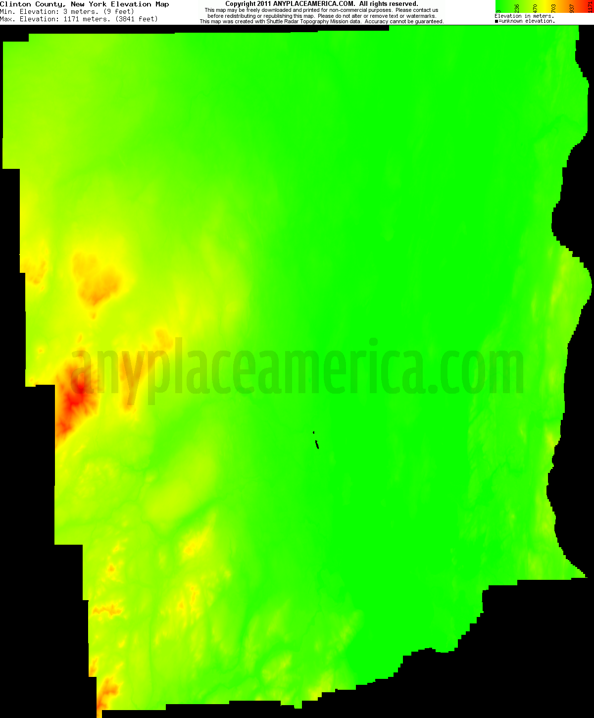 New york clinton county chazy - Download Clinton County Elevation Map