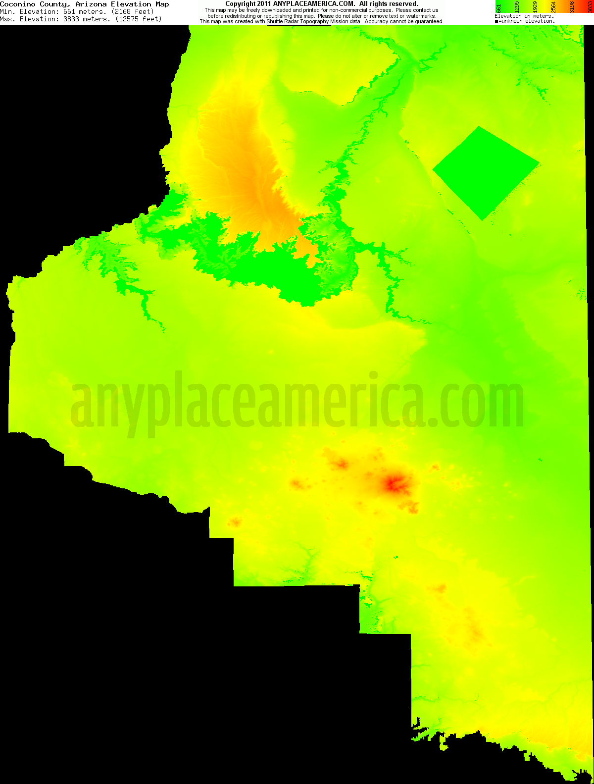 Arizona coconino county leupp - Download Coconino County Elevation Map