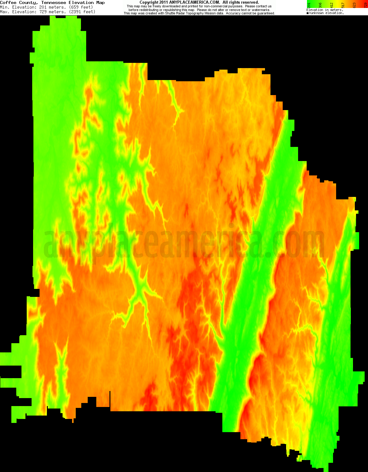 Tennessee coffee county hillsboro - Download Coffee County Elevation Map