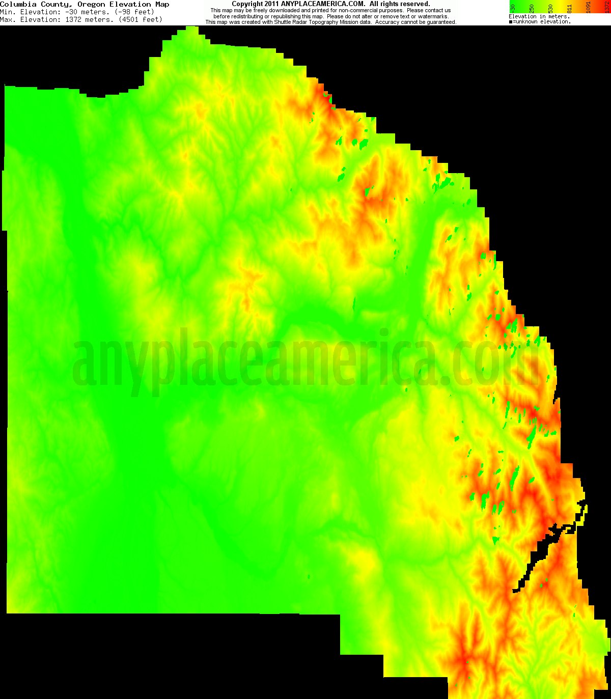 Free Columbia County Oregon Topo Maps Elevations
