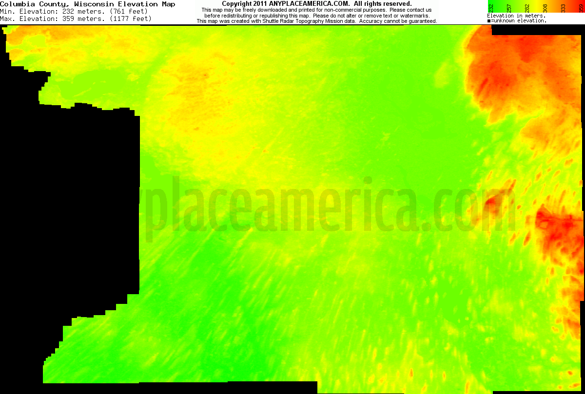 Columbia, Wisconsin elevation map