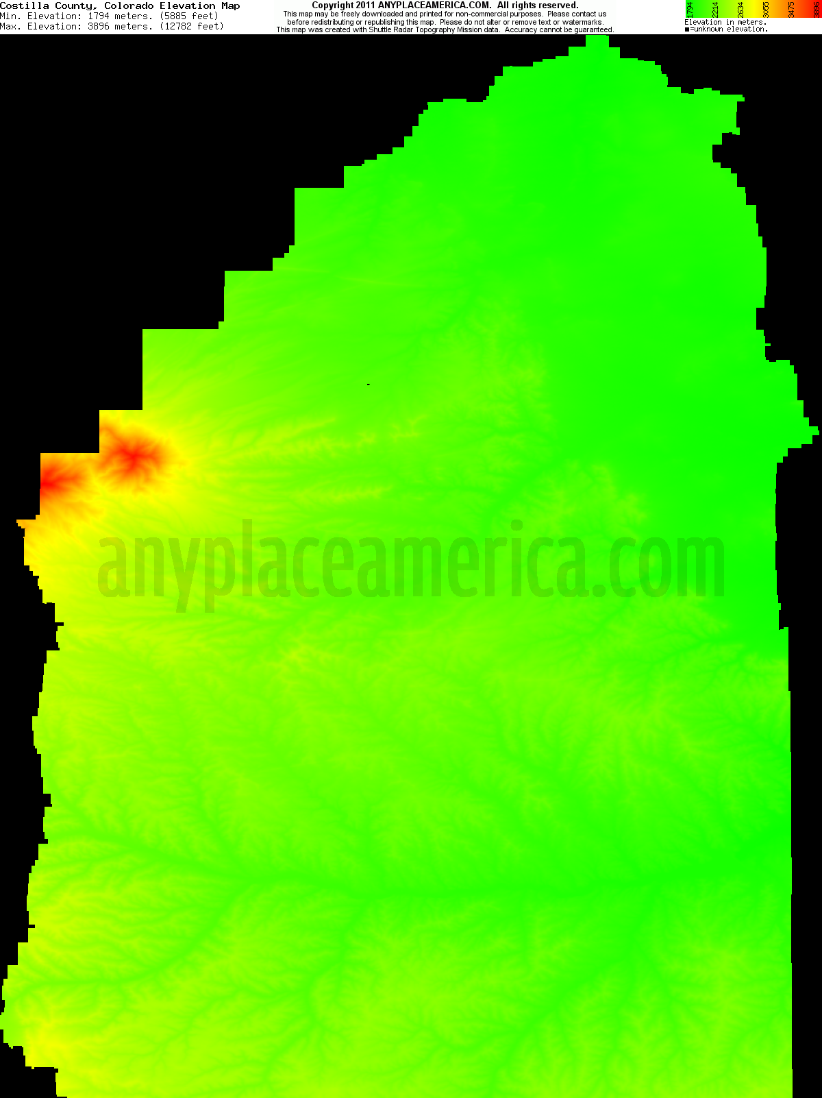 Free Costilla County Colorado Topo Maps Elevations