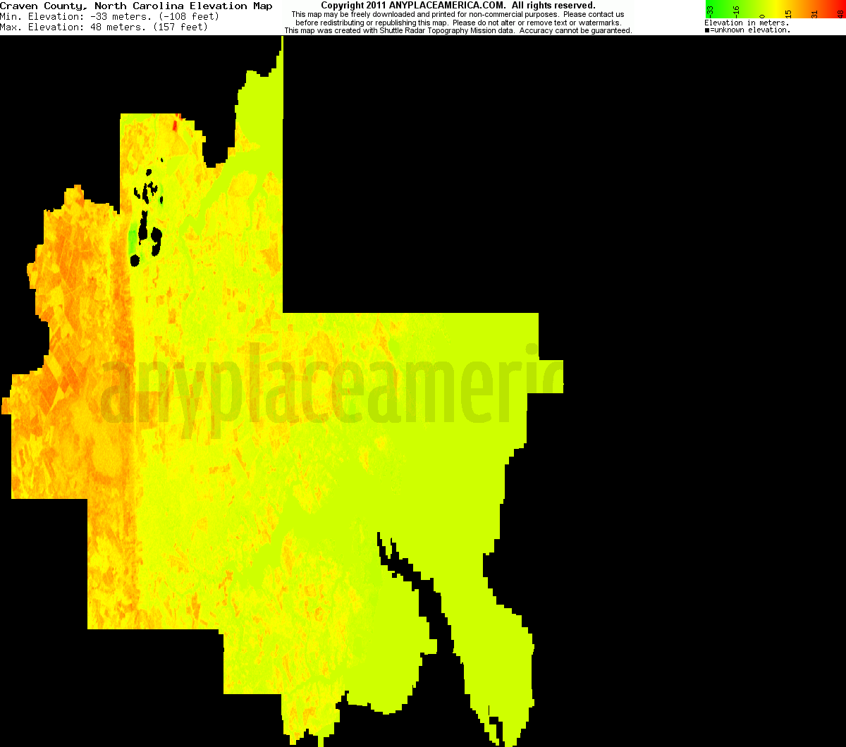 Download Craven County Elevation Map