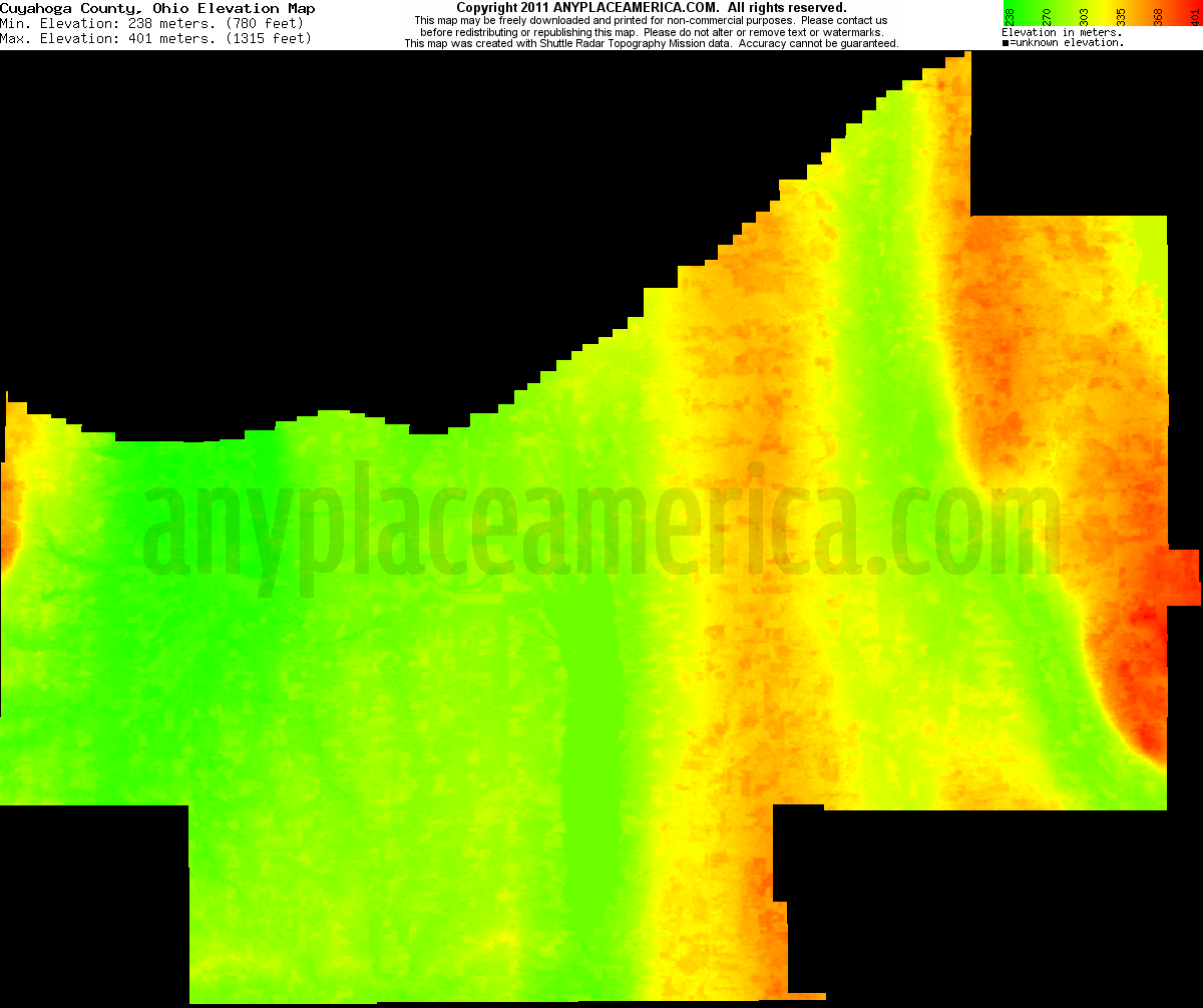 Download Cuyahoga County Elevation Map
