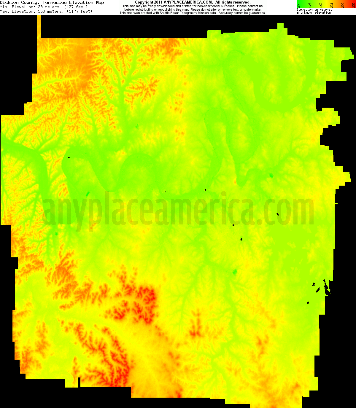 Dickson, Tennessee elevation map