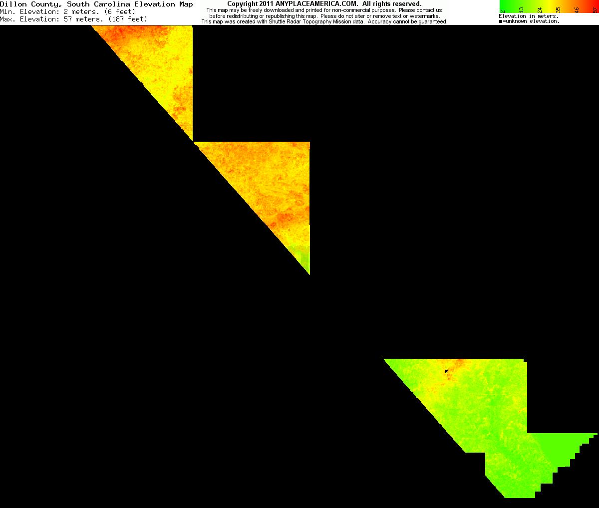 Dillon, South Carolina elevation map