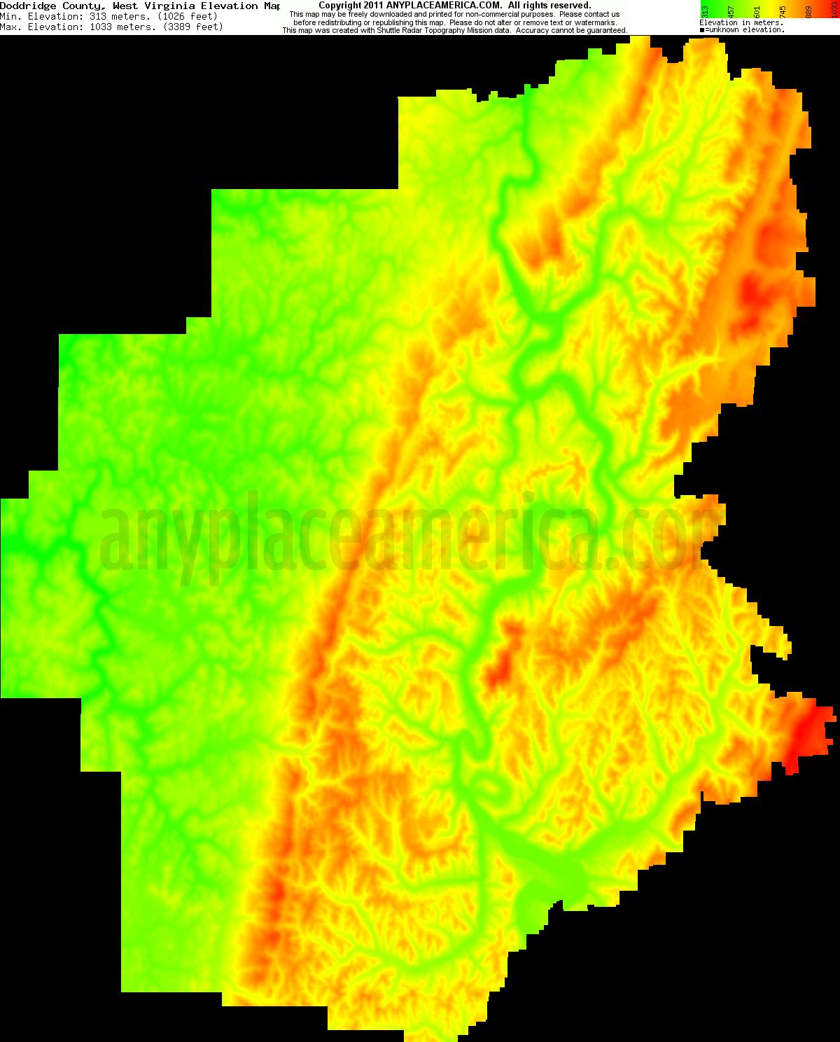 Free Doddridge County West Virginia Topo Maps Amp Elevations