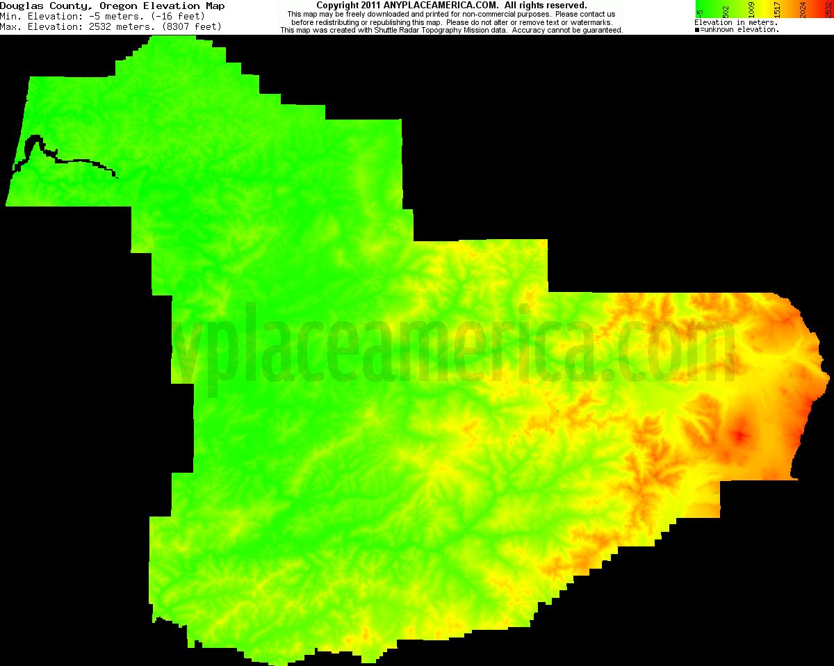 Free Douglas County Oregon Topo Maps Elevations