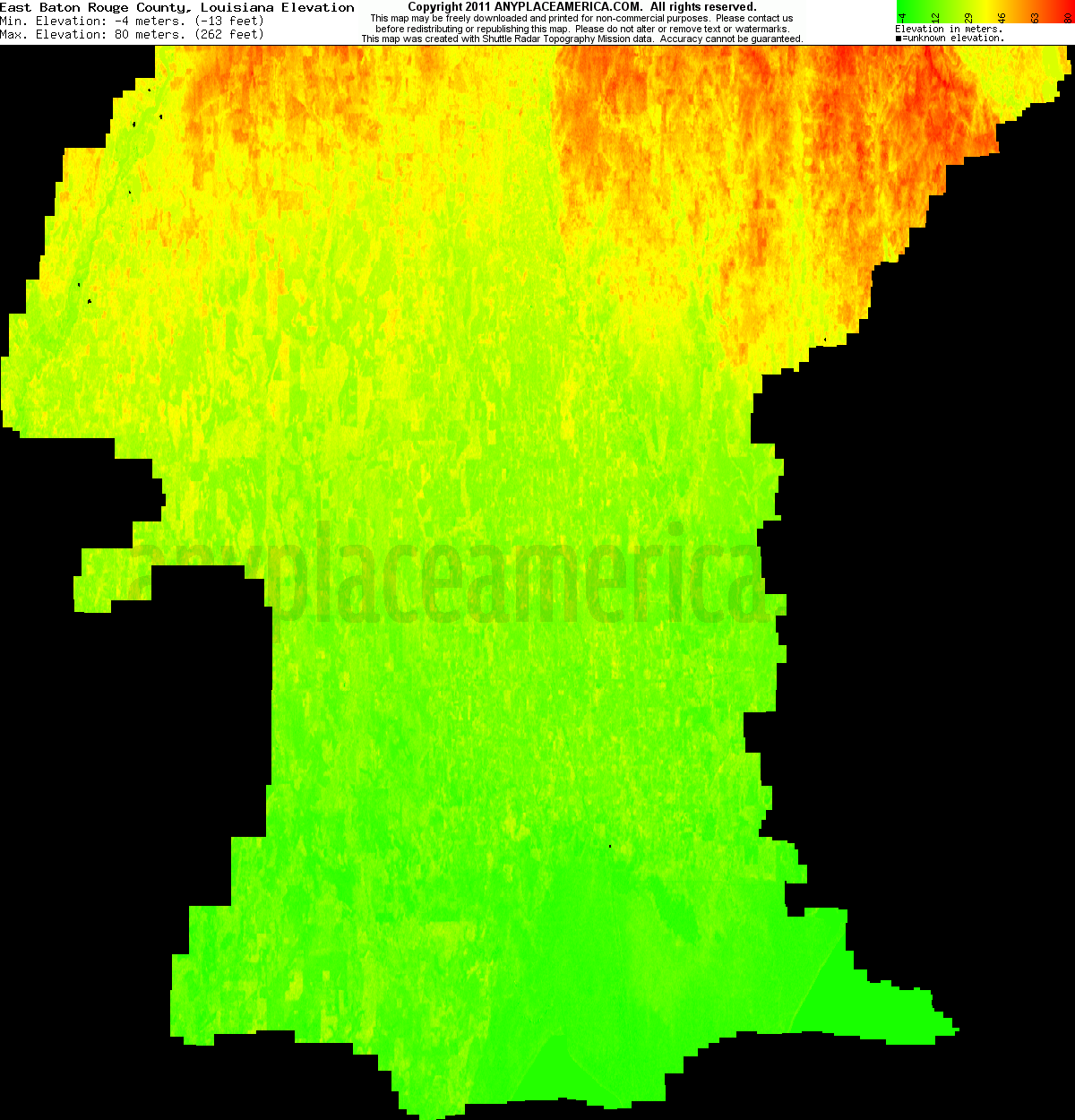 Download East Baton Rouge Parish Elevation Map