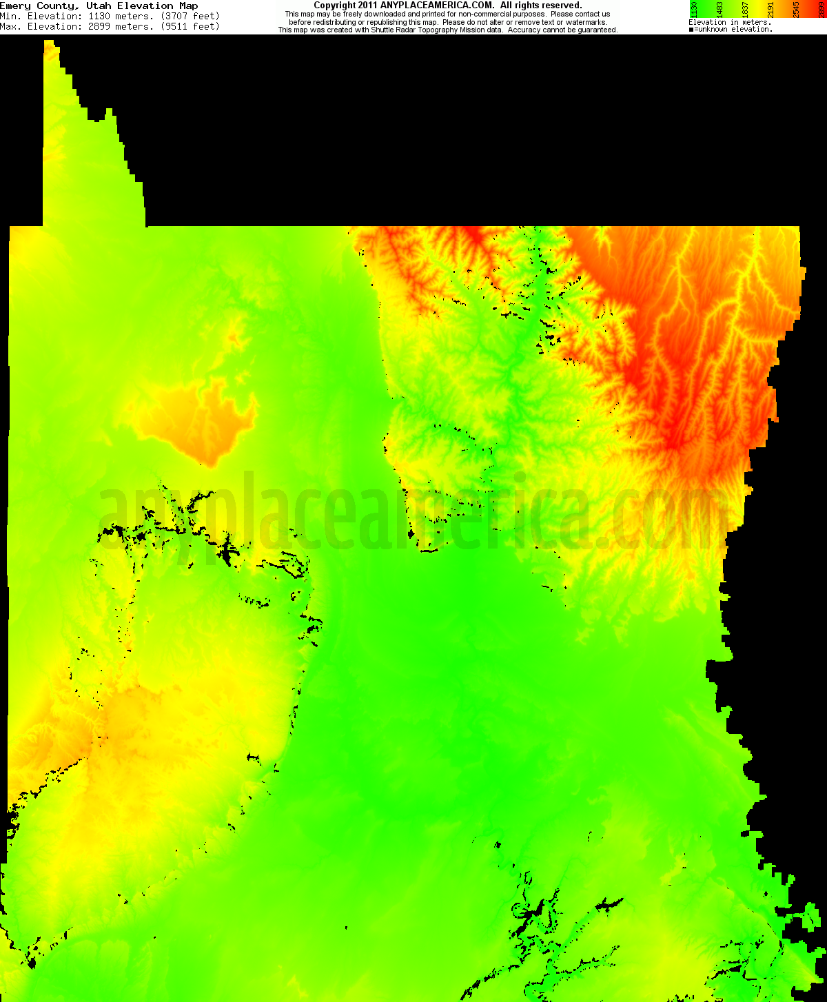 Download Emery County Elevation Map