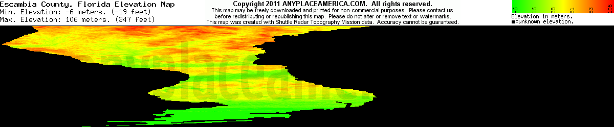 Elevation Map Of Florida.Free Escambia County Florida Topo Maps Elevations