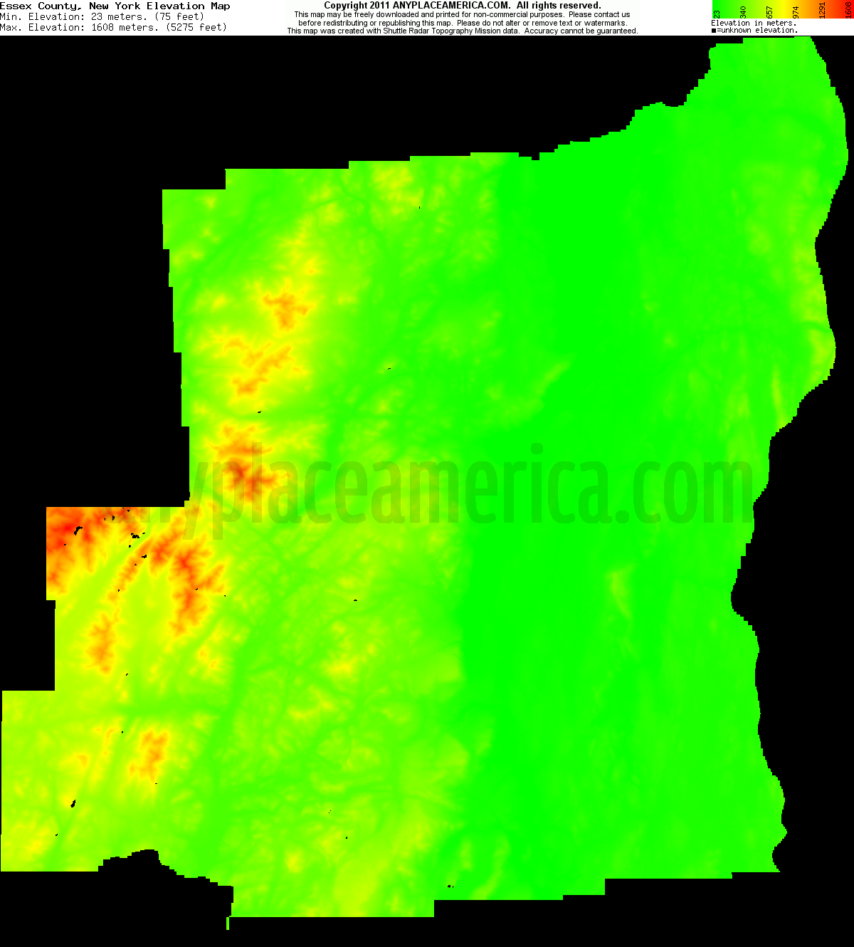 New york essex county keene - Download Essex County Elevation Map