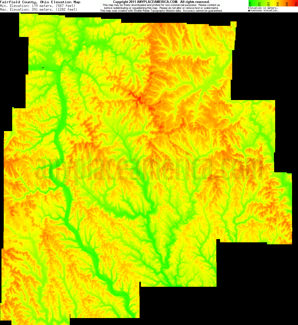 Topography Map Of Ohio.Free Fairfield County Ohio Topo Maps Elevations