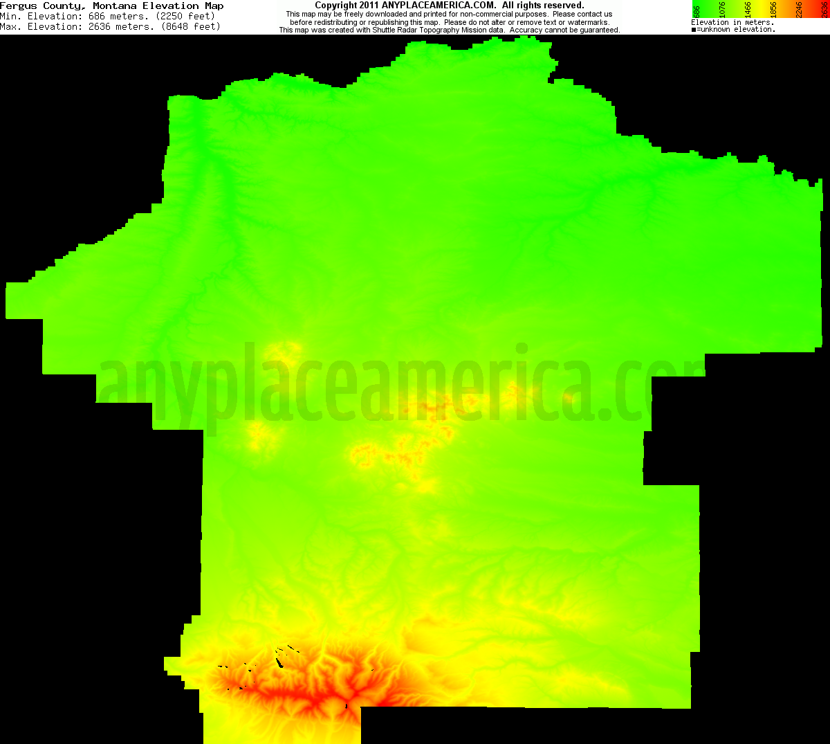 Montana fergus county grass range - Download Fergus County Elevation Map