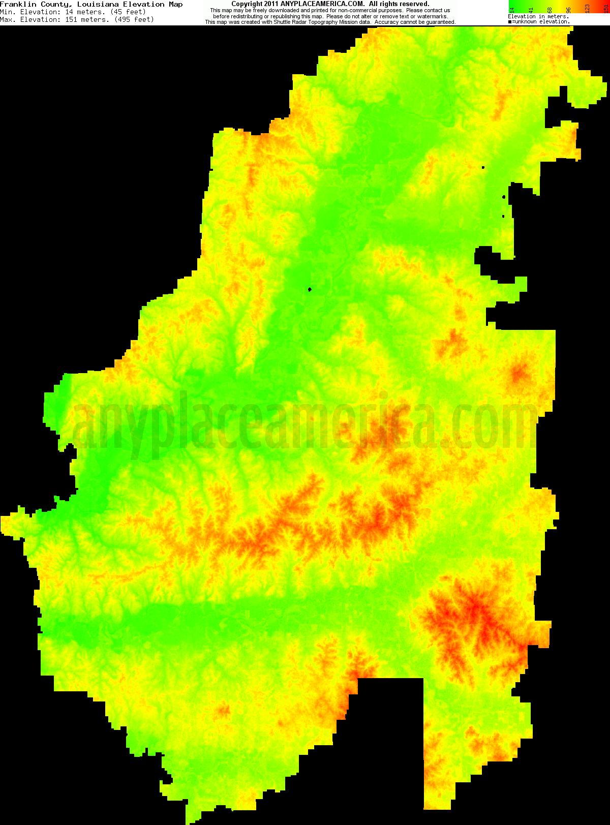 Free Franklin Parish Louisiana Topo Maps Elevations