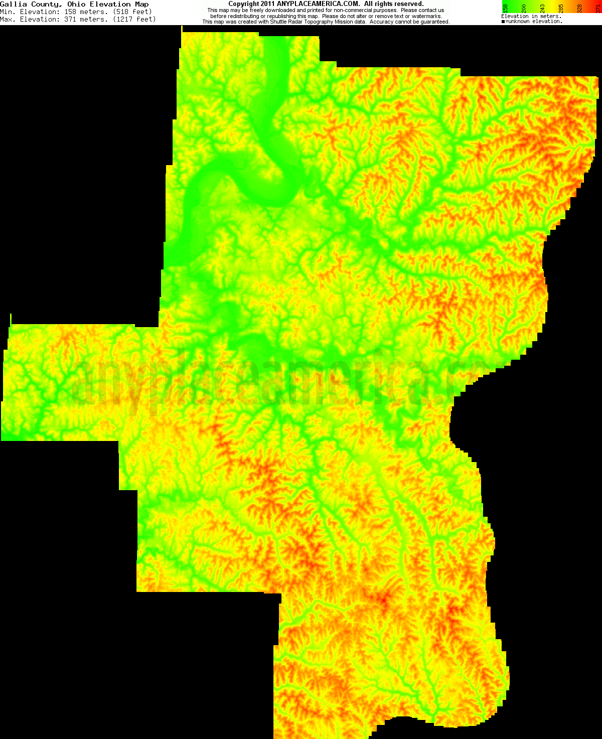 Free Gallia County Ohio Topo Maps Amp Elevations