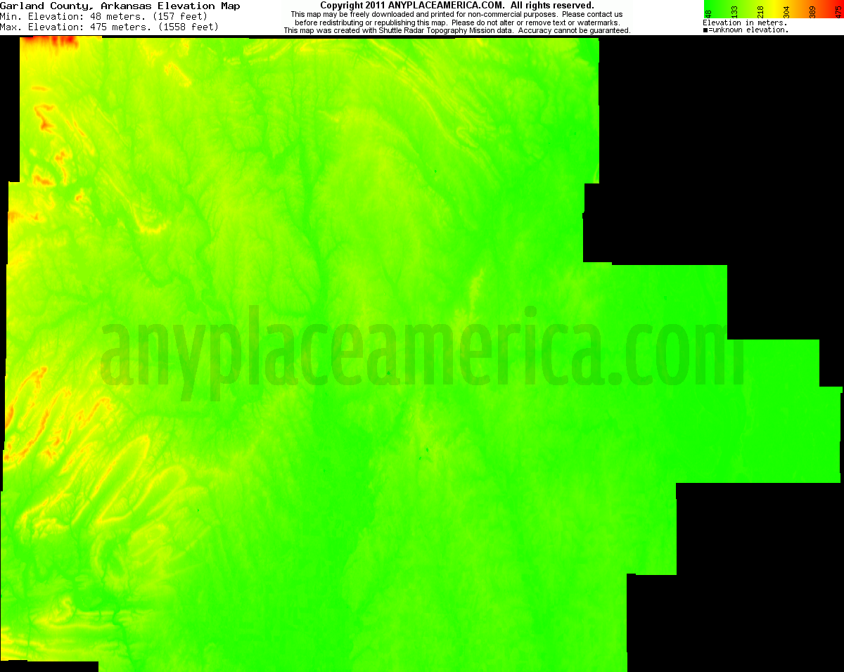 Download Garland County Elevation Map