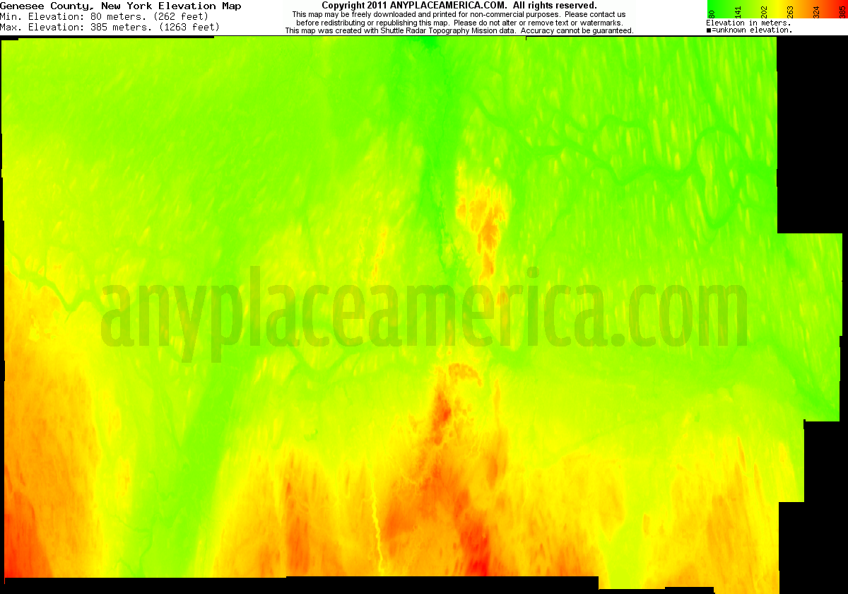 New york genesee county oakfield - Download Genesee County Elevation Map