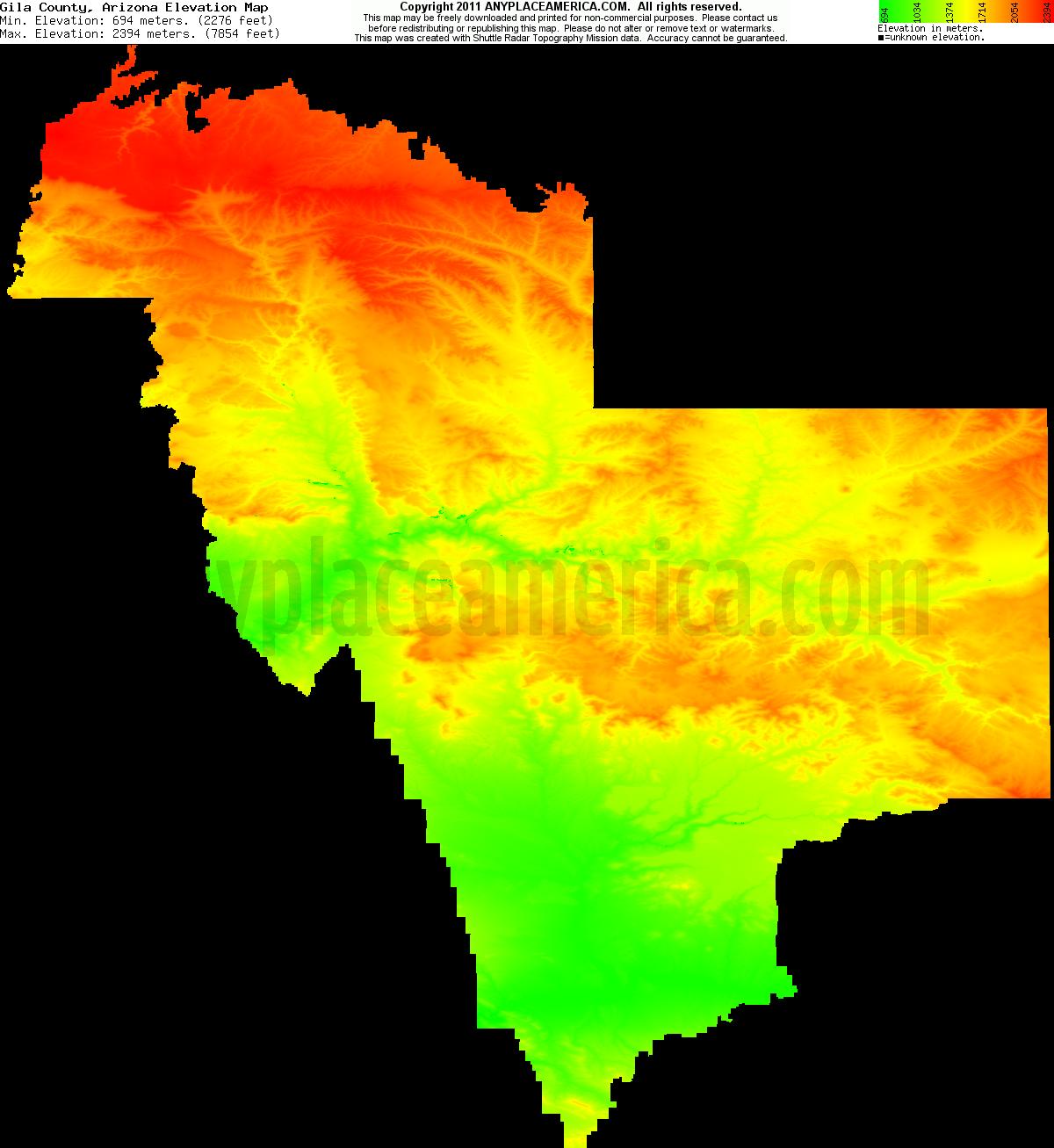 Arizona gila county young - Download Gila County Elevation Map