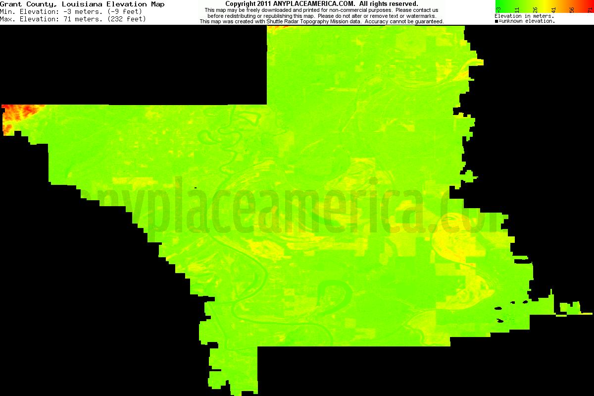 Free Grant Parish Louisiana Topo Maps Elevations