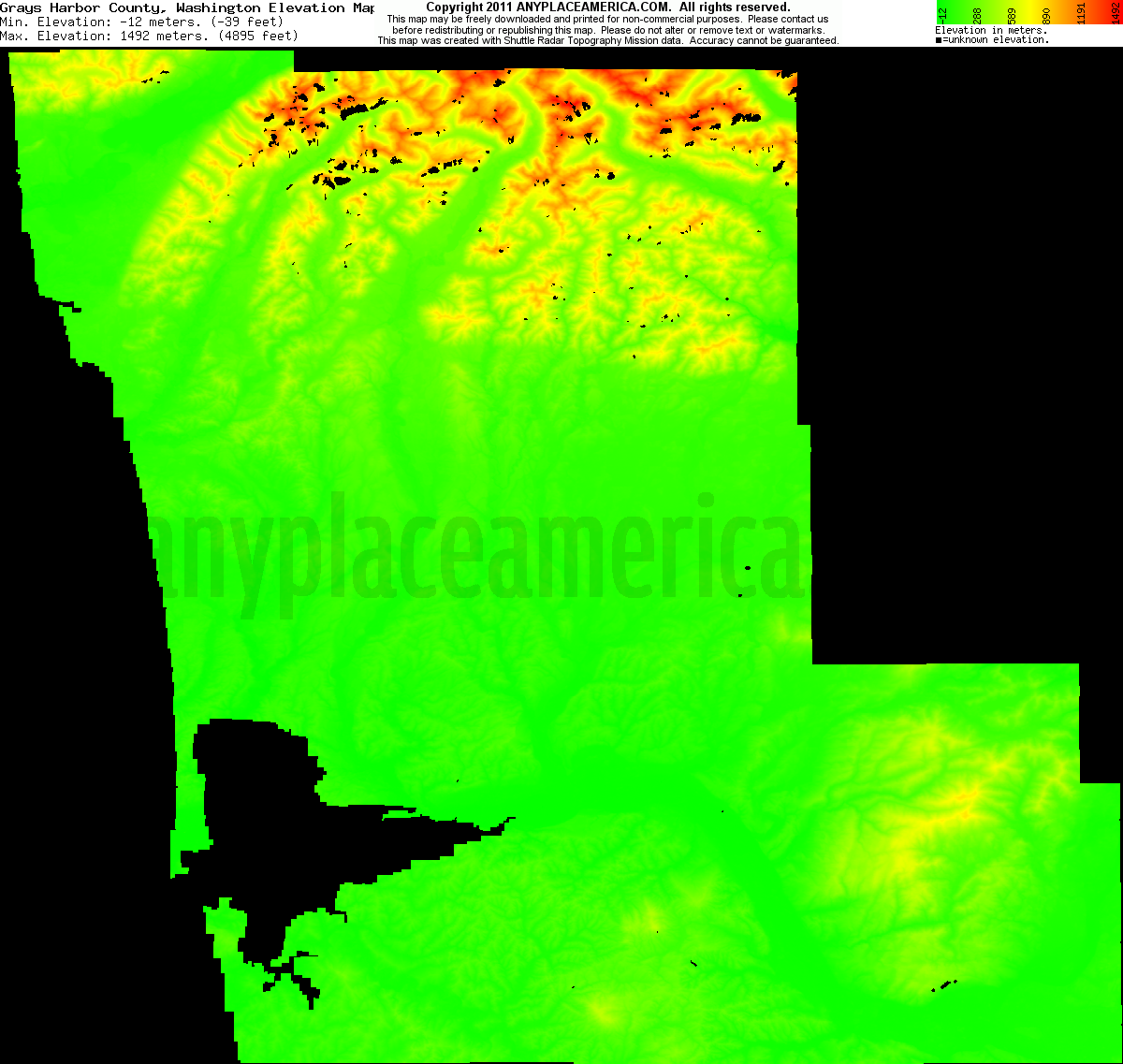Grays Harbor, Washington elevation map