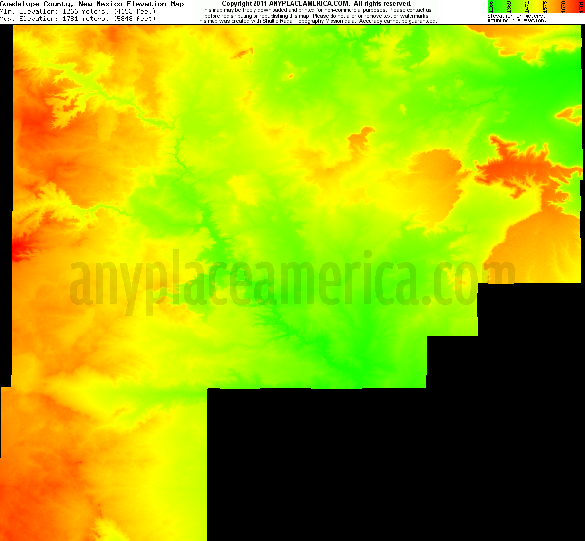 New mexico guadalupe county santa rosa - Download Guadalupe County Elevation Map