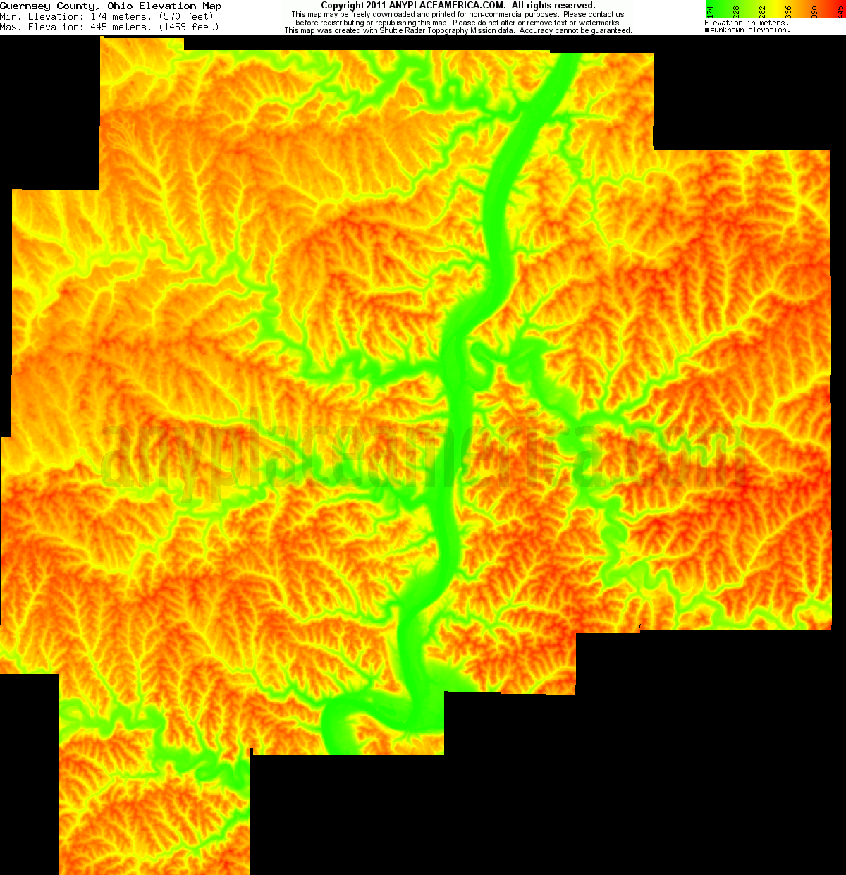 Free Guernsey County, Ohio Topo Maps & Elevations on
