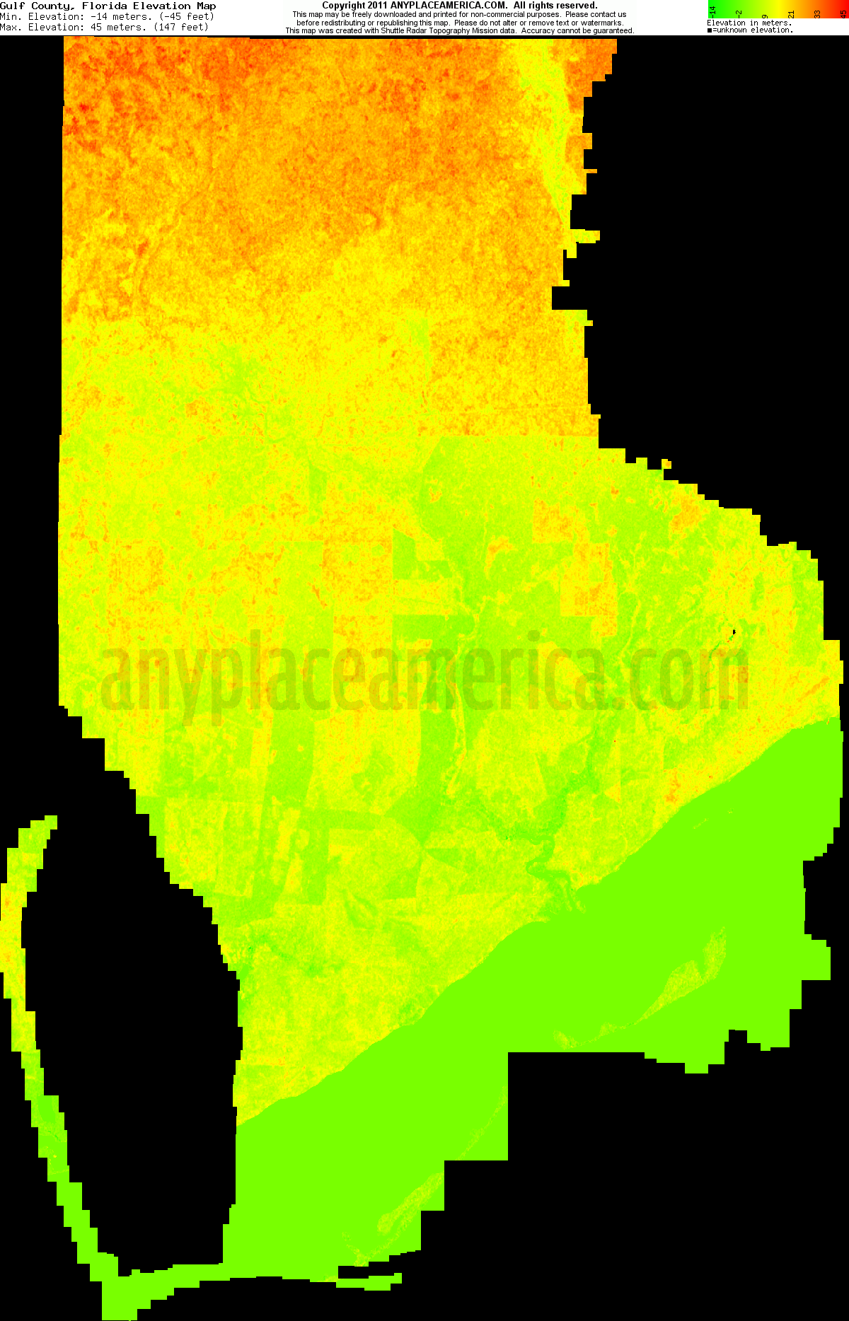 Free Gulf County Florida Topo Maps  Elevations - Map florida counties 2011