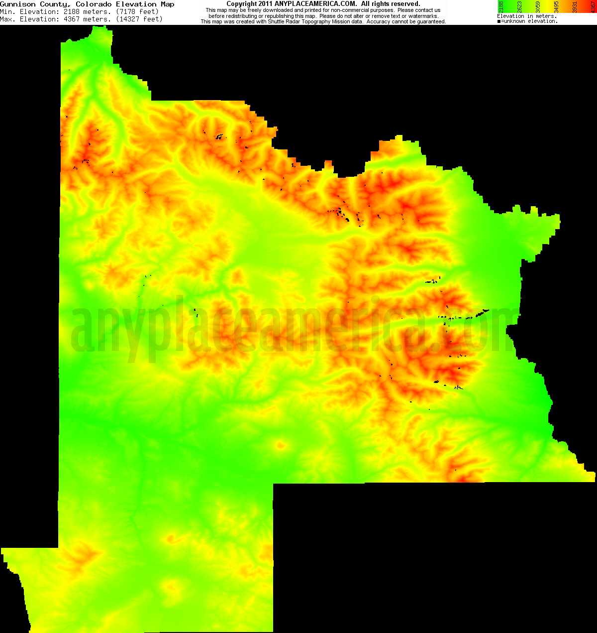 Colorado Elevation: Free Gunnison County, Colorado Topo Maps & Elevations