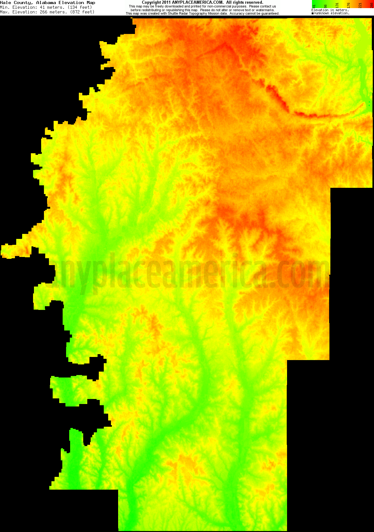 Alabama hale county akron - Download Hale County Elevation Map