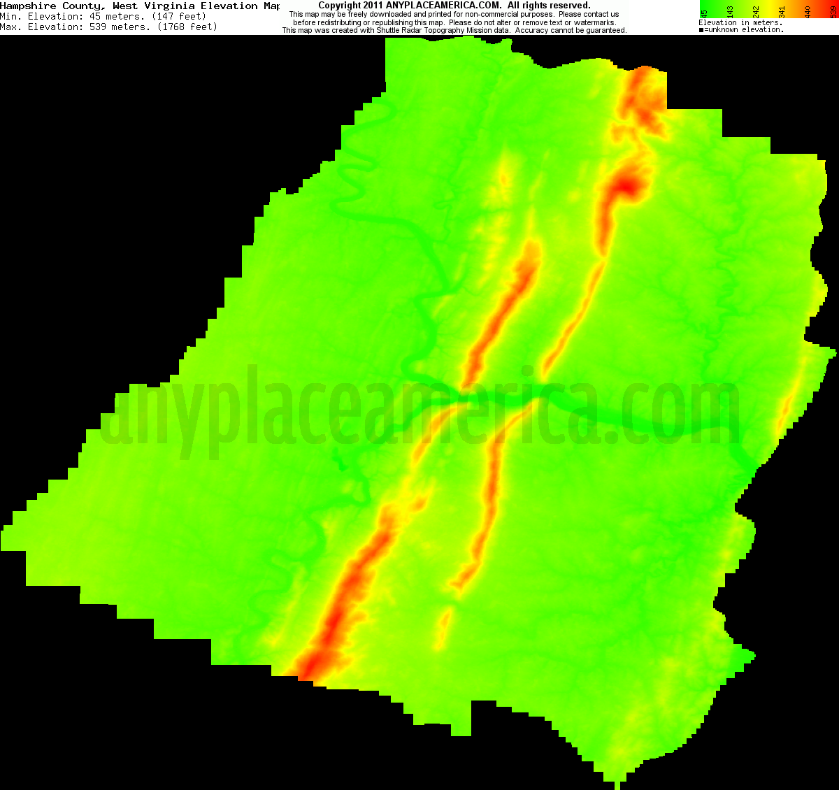 Topographic Map West Virginia.Free Hampshire County West Virginia Topo Maps Elevations