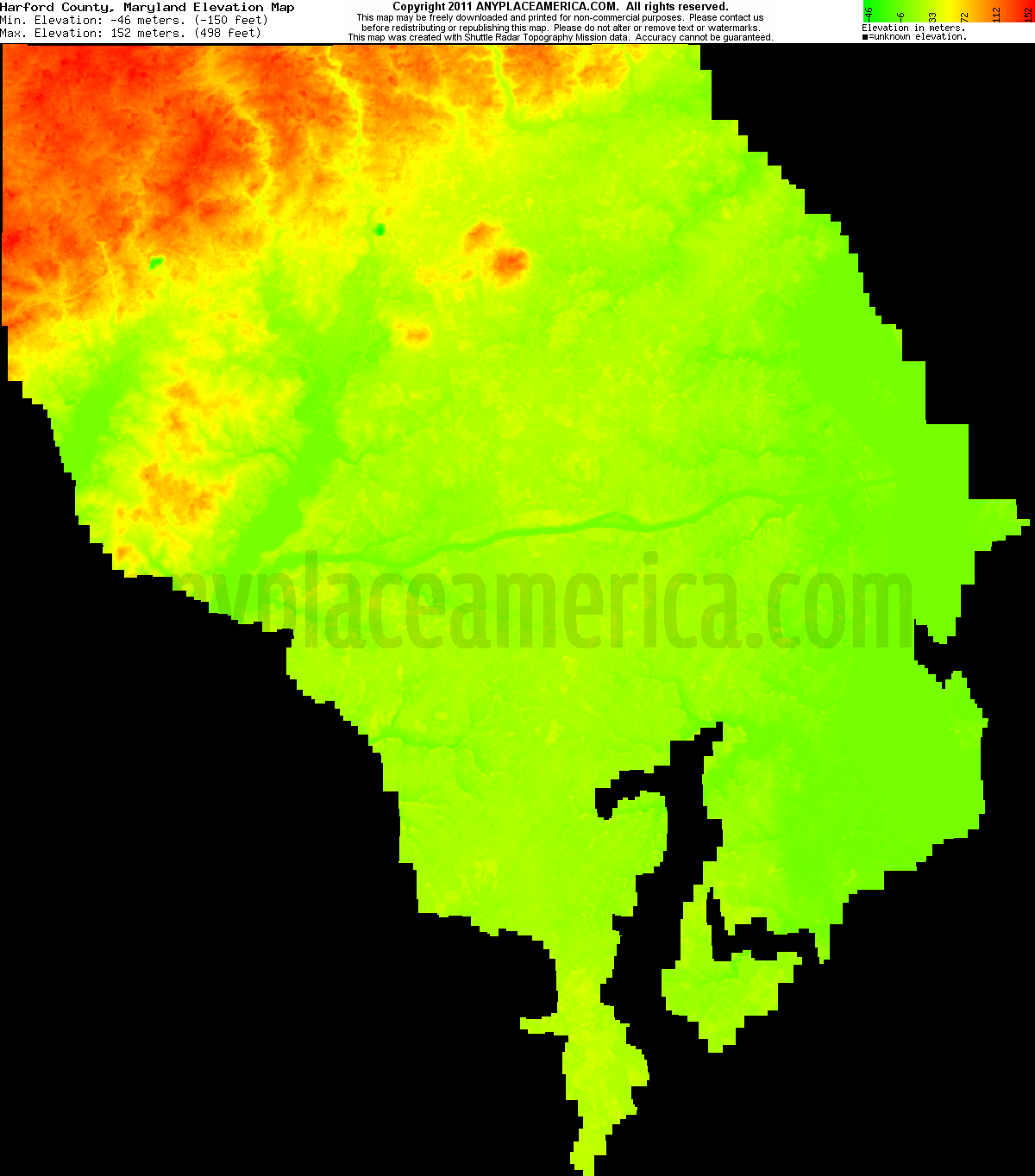 Free Harford County Maryland Topo Maps Elevations - Maryland us county map