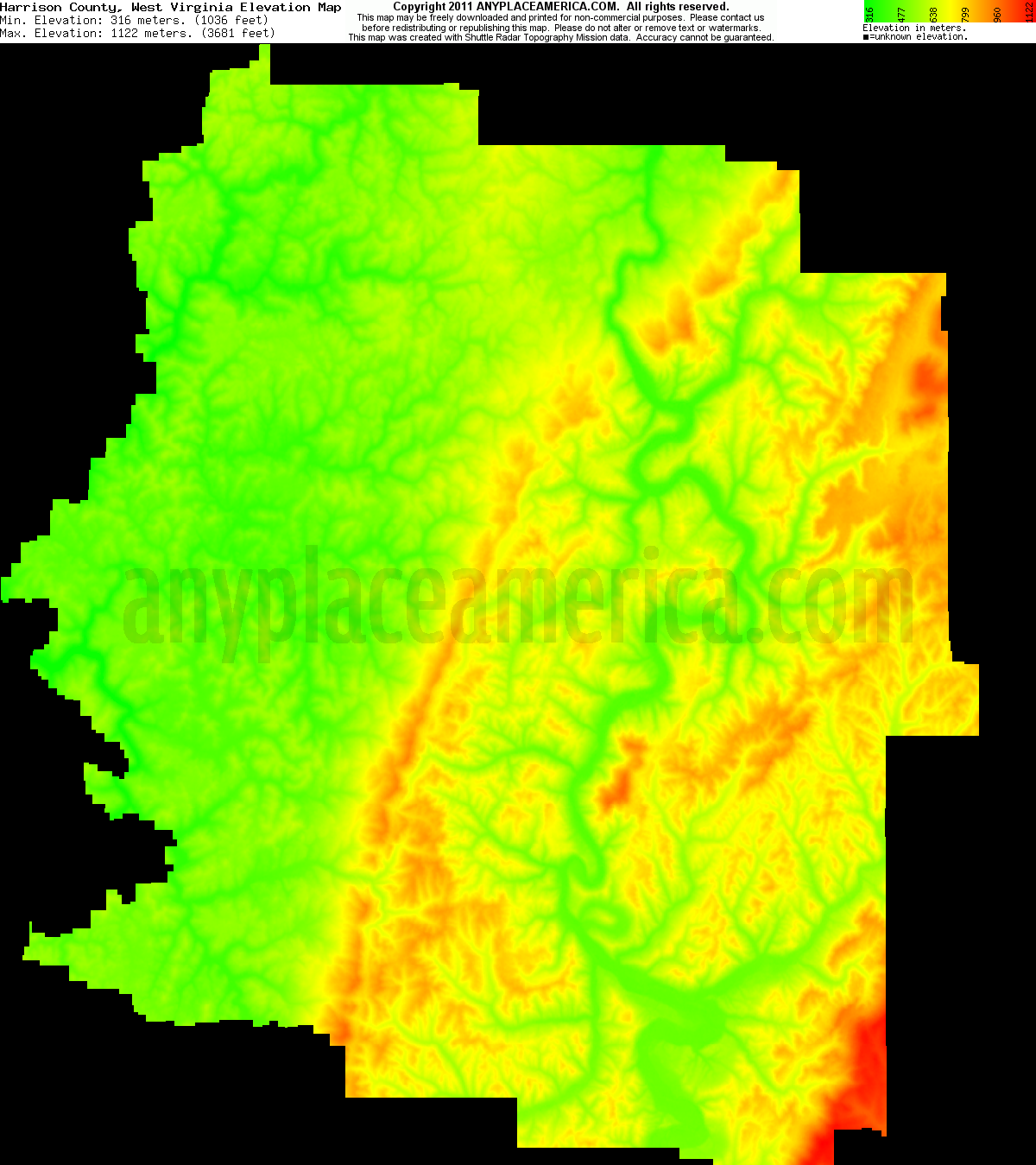 Free Harrison County West Virginia Topo Maps Amp Elevations