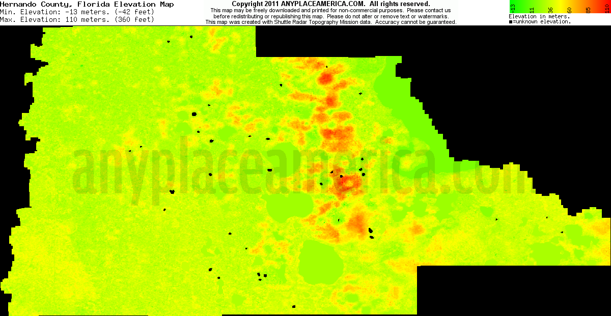 Download Hernando County Elevation Map