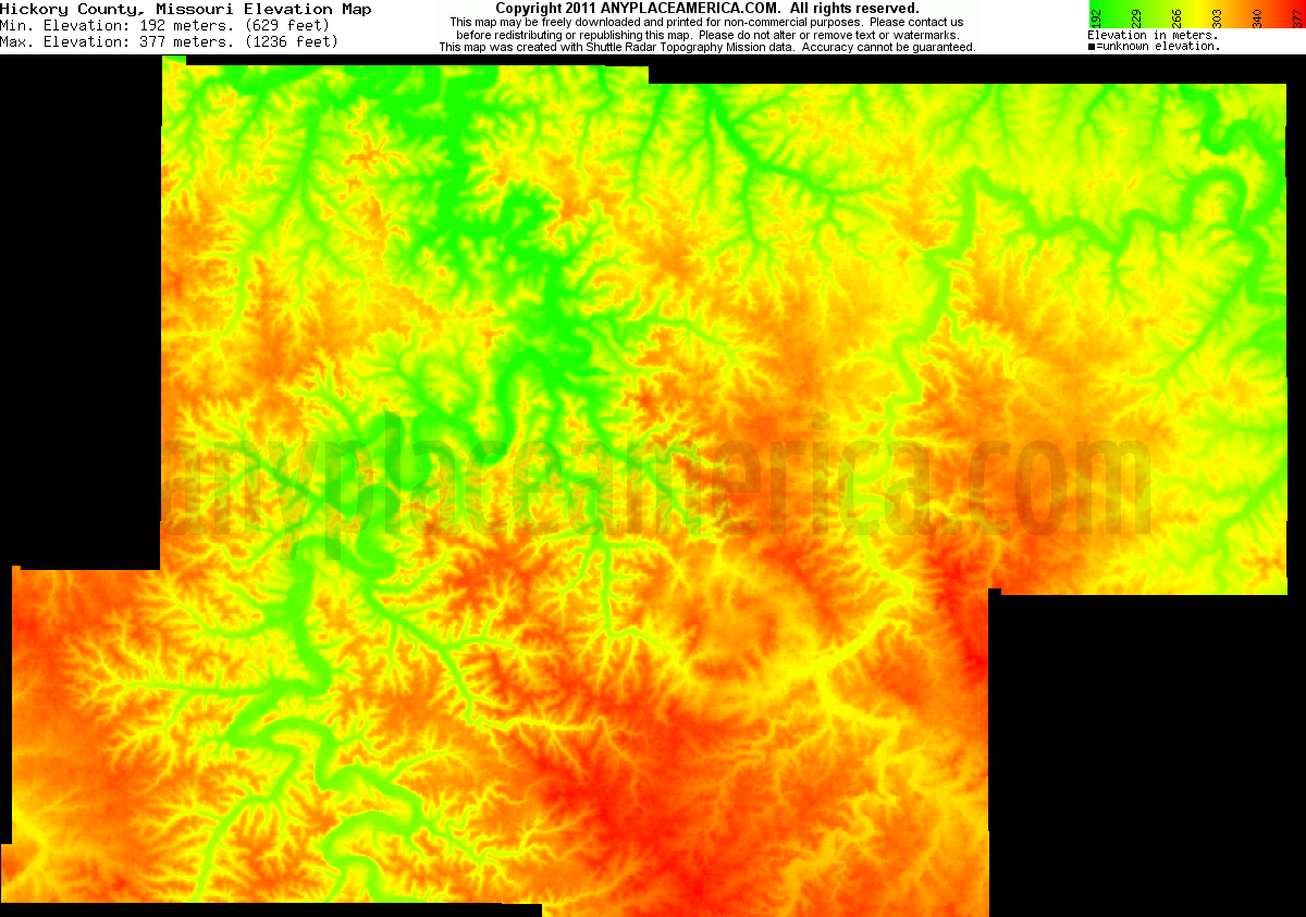 Hickory, Missouri elevation map