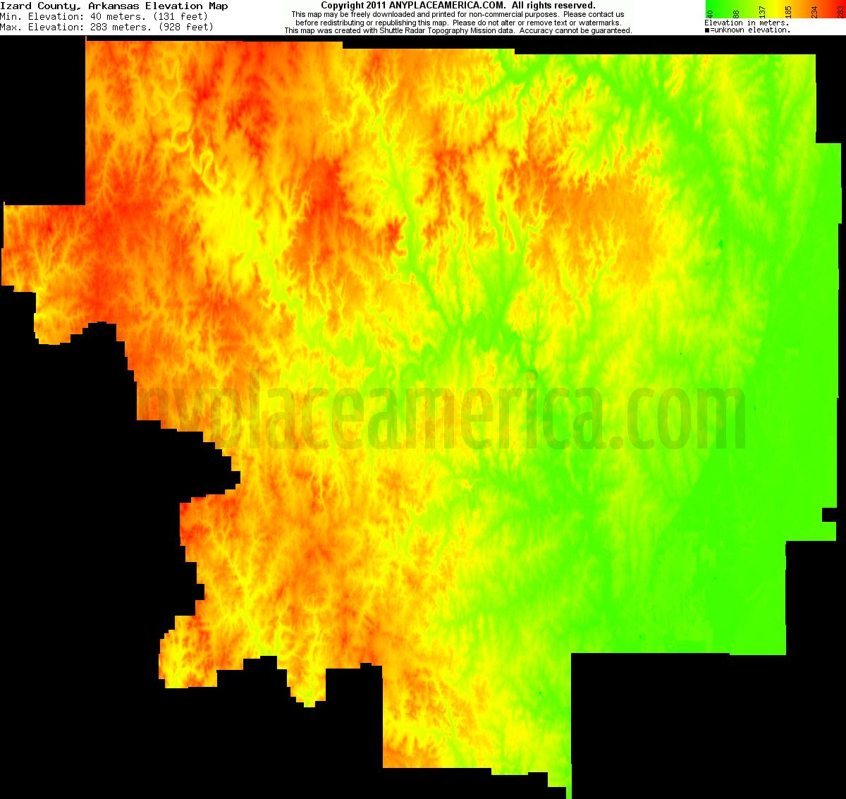 Elevation Of Washington County Ar Usa: Free Izard County, Arkansas Topo Maps & Elevations