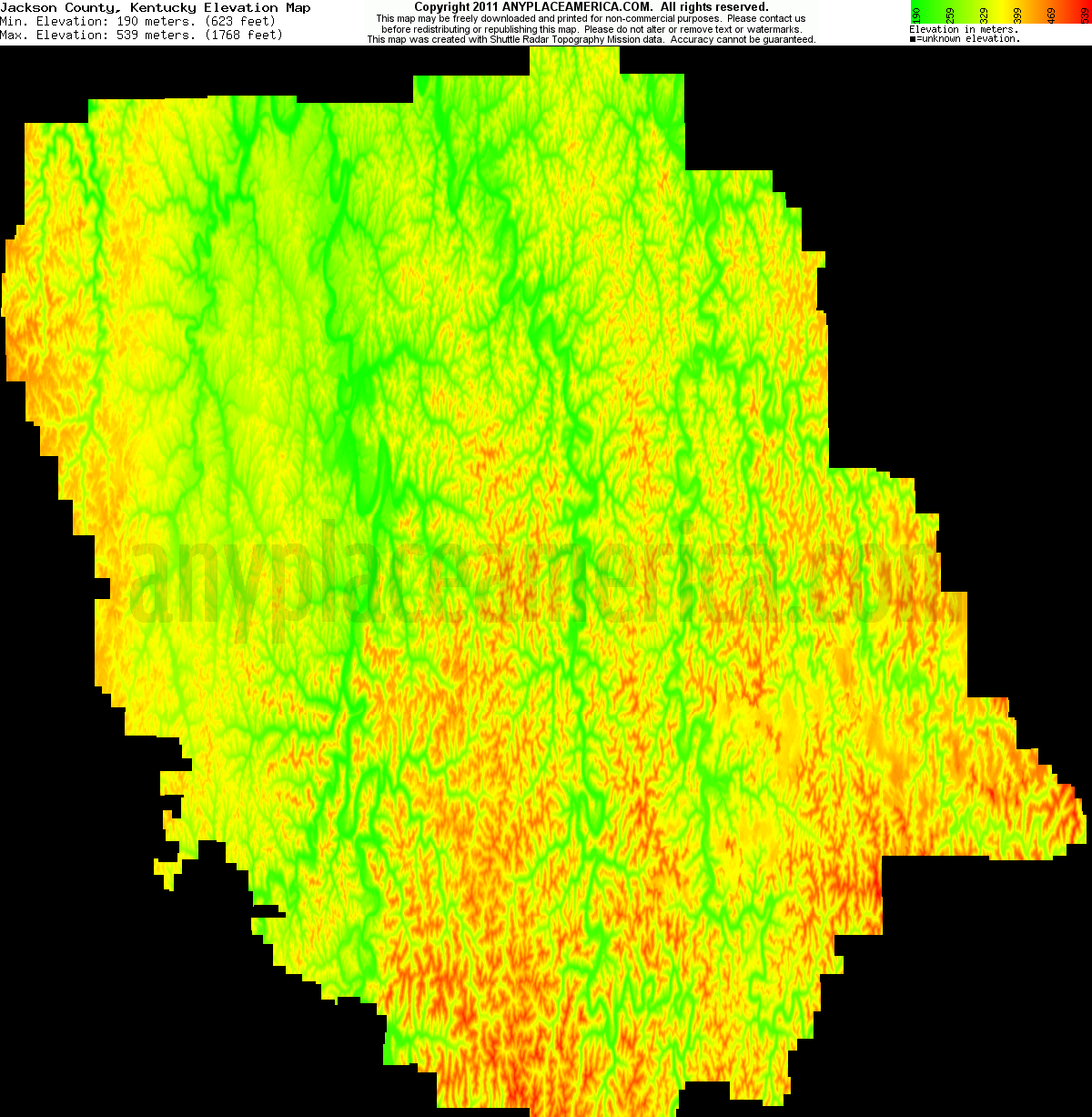 Jackson, Kentucky elevation map