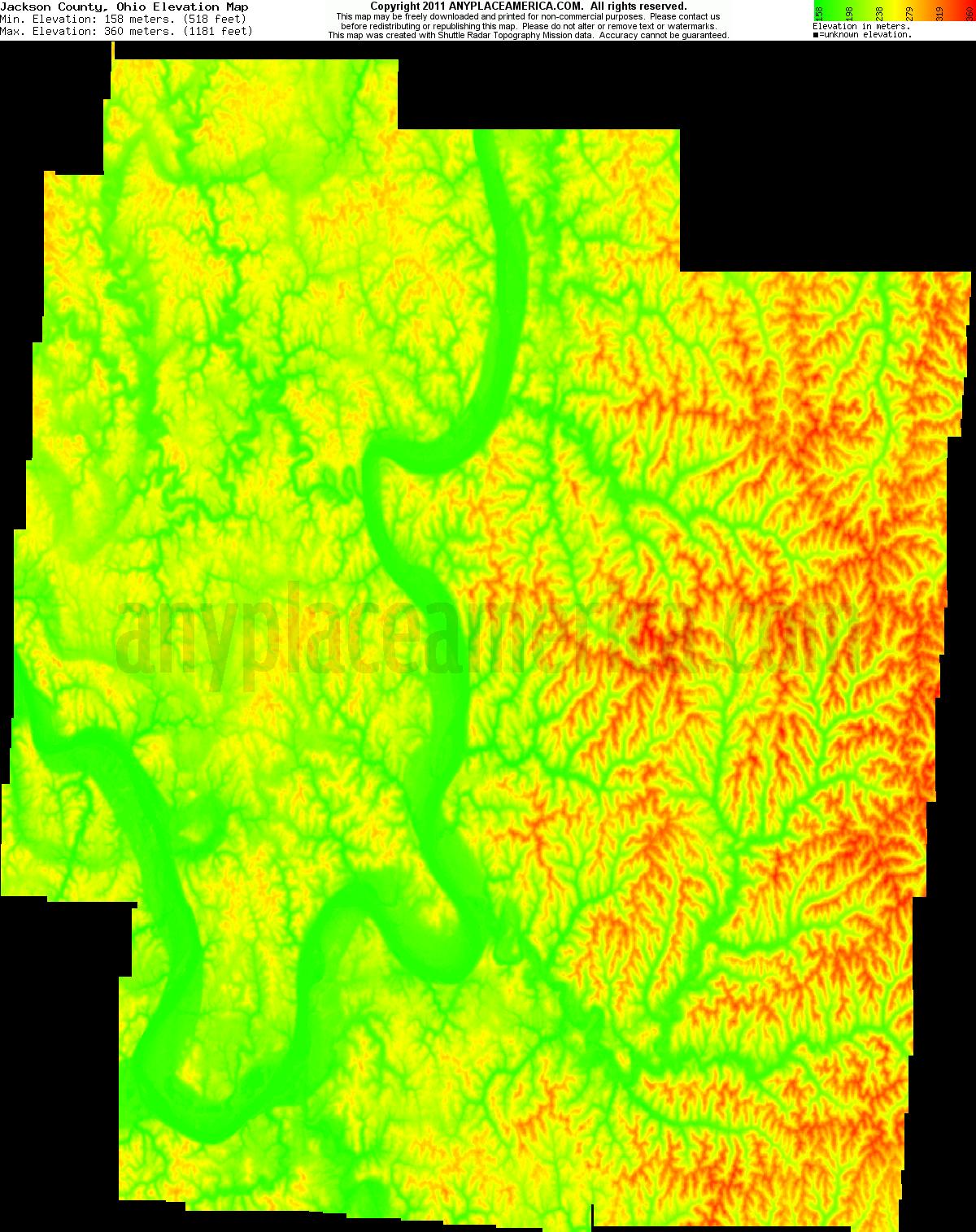 Jackson, Ohio elevation map