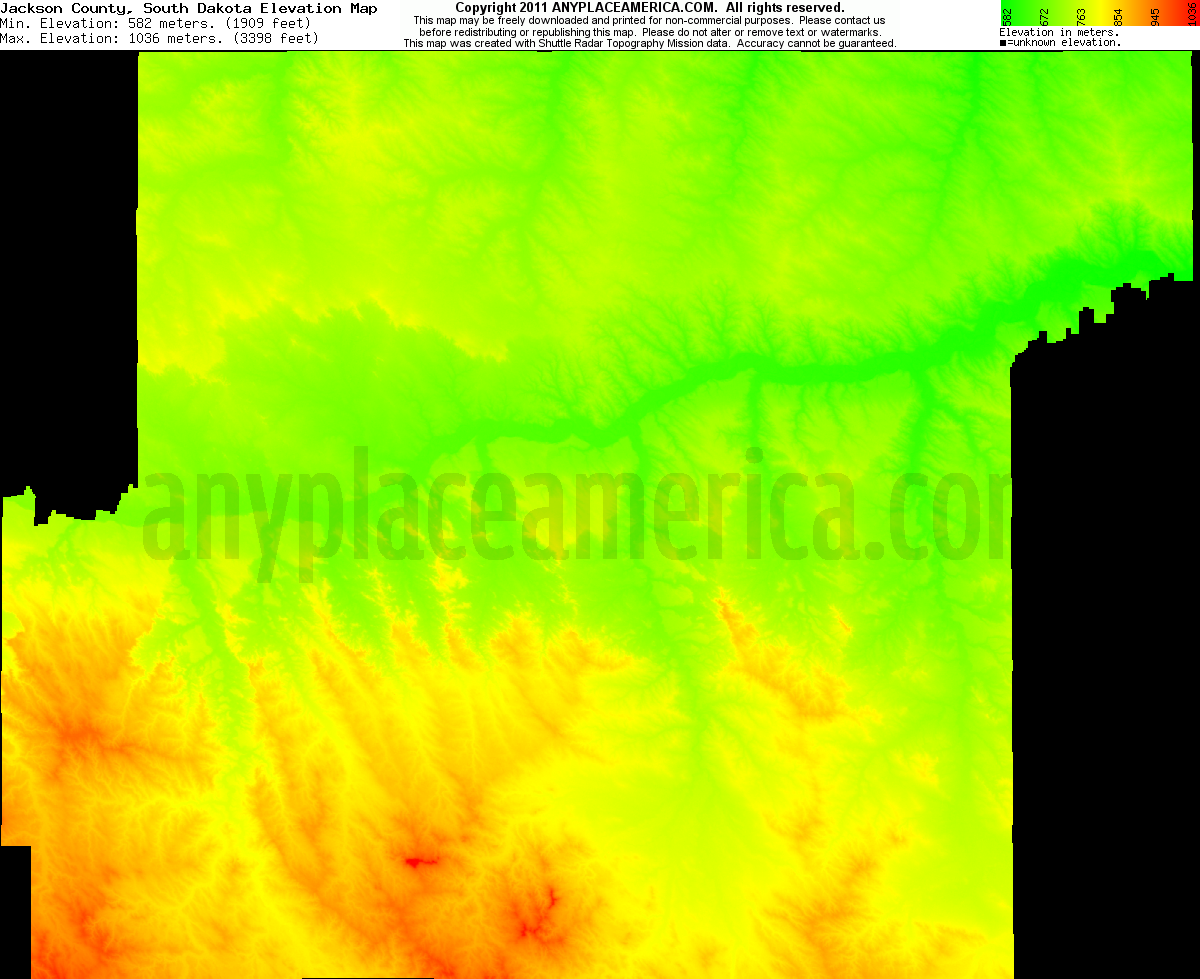 Jackson, South Dakota elevation map