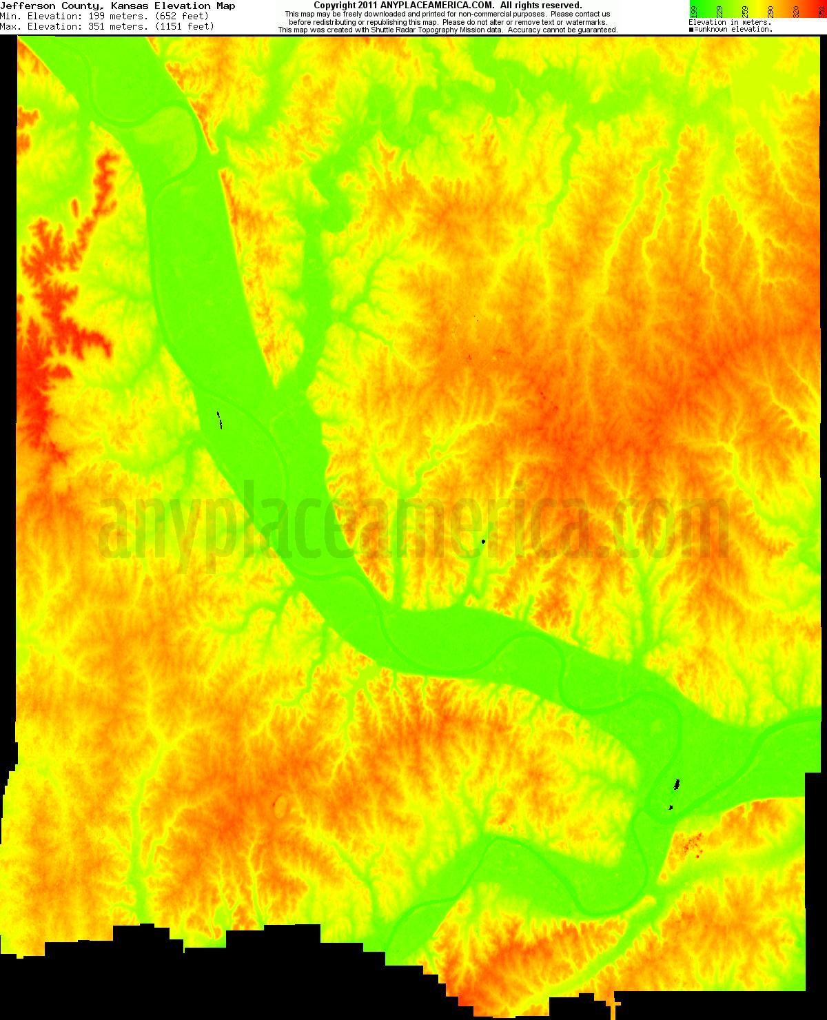 Kansas jefferson county winchester - Download Jefferson County Elevation Map