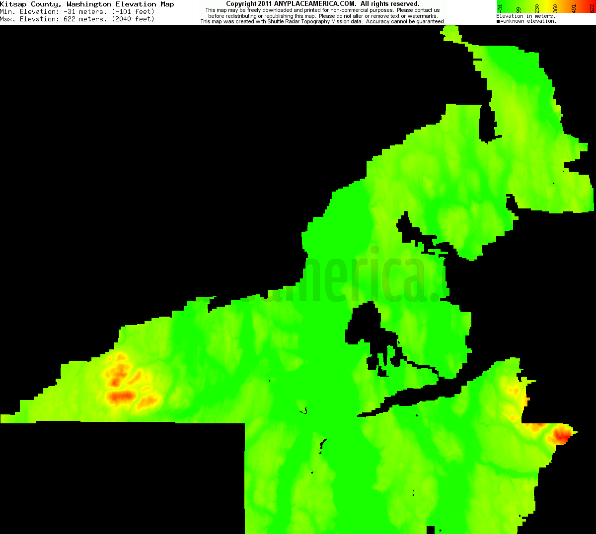 Elevation Of Washington County Ar Usa: Free Kitsap County, Washington Topo Maps & Elevations
